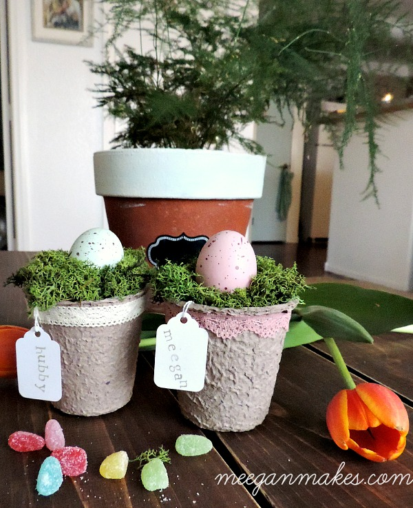 Make an Easter Place Card with Peat Pots and Moss