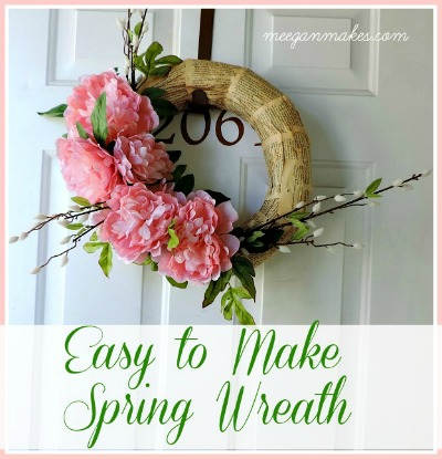 Spring Peony Wreath in Pink with Book Pages Button