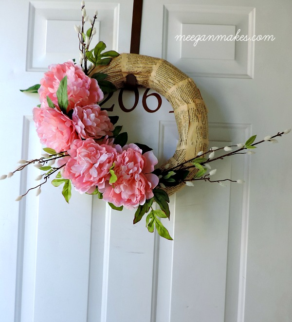 Spring Peony Wreath in Pink with Book Pages