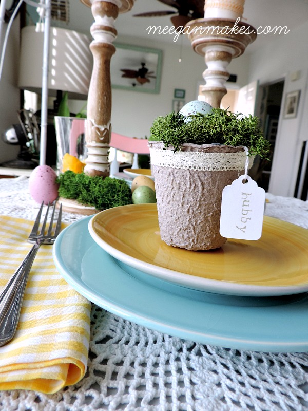 Spring Tablescape Place Cards and Plates