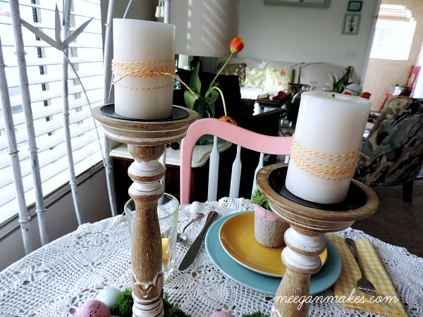 Spring Wrapped Bakers Twine Candles
