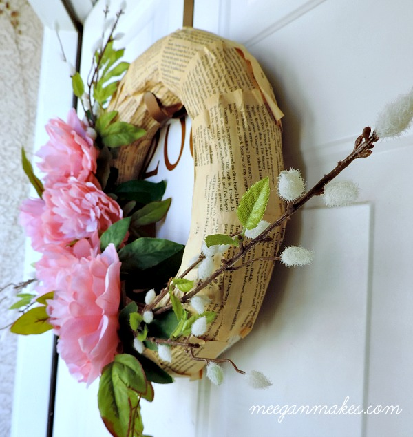Spring Wreath with Peonies, Pussy Willows and Book Pages