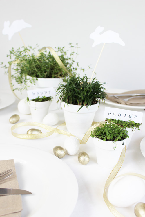 White and Gold Easter Tablescape