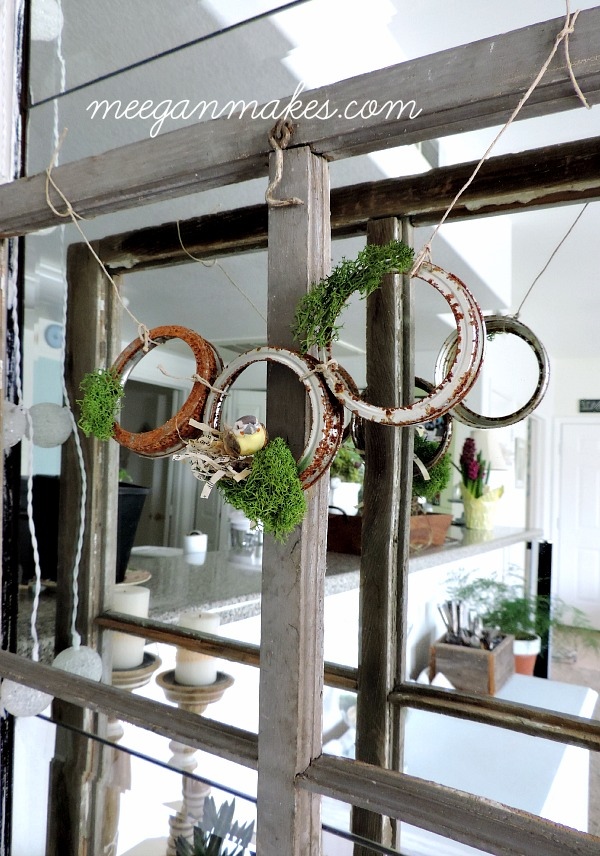 Rusted Jar Lid Garland with Book Page Nest and Bird