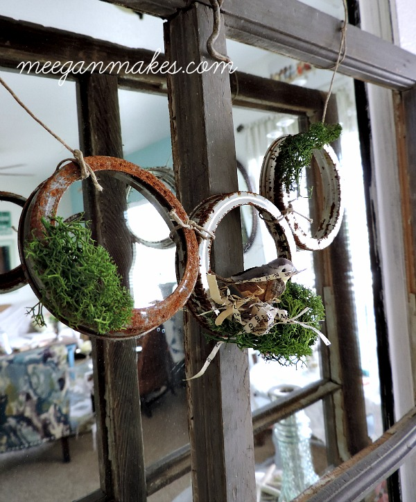 Rusted Jar Lid Garland with Moss and Bird