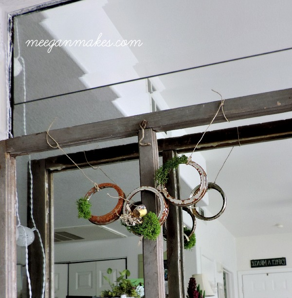 Rusted Lid Garland with Bird Nest