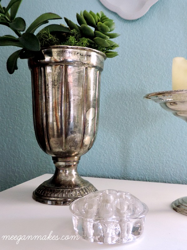 Thrifted Silver Cup and Glass Frog