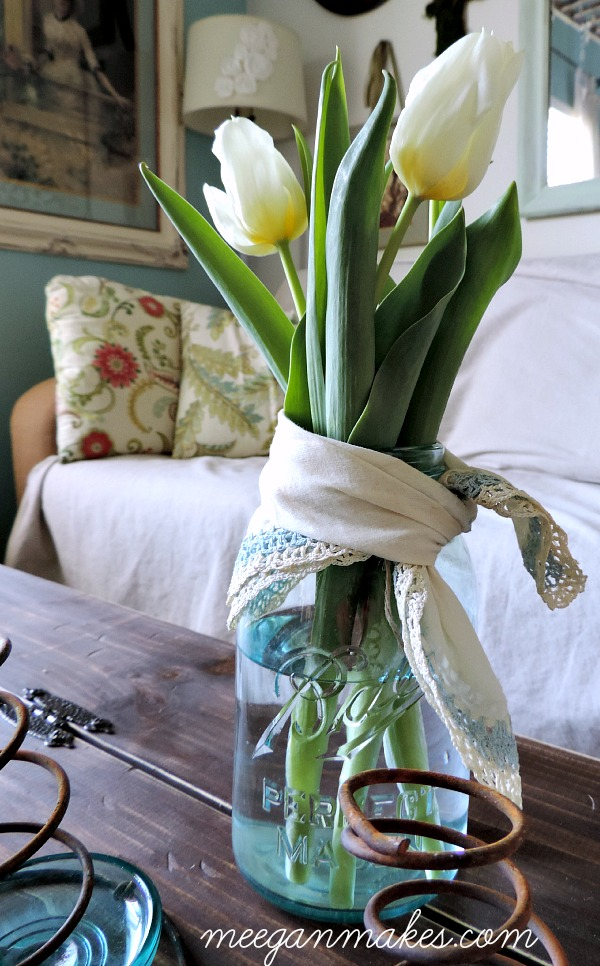 Tulips Tied With A Vintage Hankie