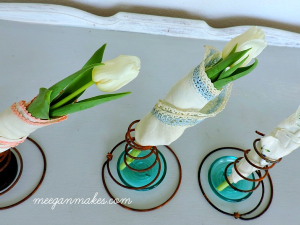 Tulips Wrapped with Vintage Hankies in Vintage Box Springs