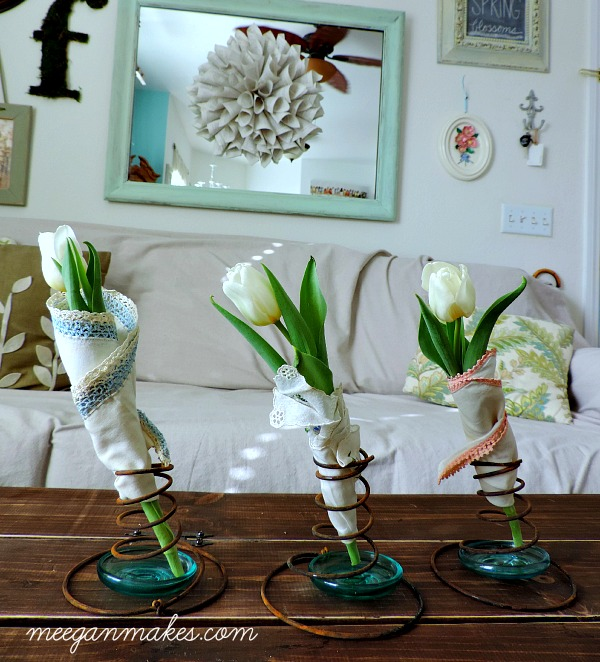 Vintage Box Springs With Tulips and Hankies