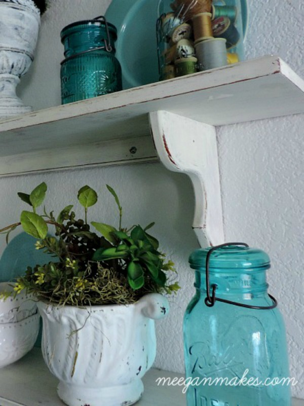 Blue Mason Jar Shelf