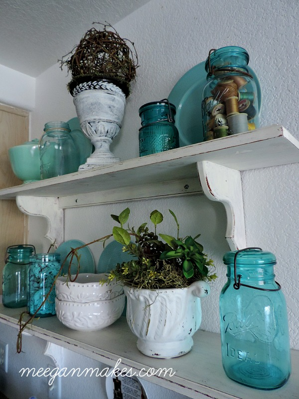 Blue and White Shelves