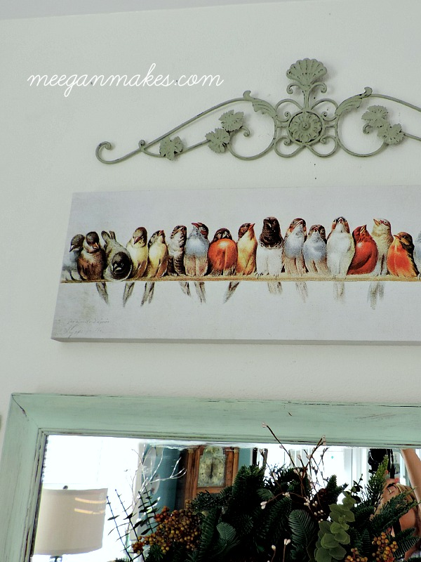 Collage Wall with Bird Print