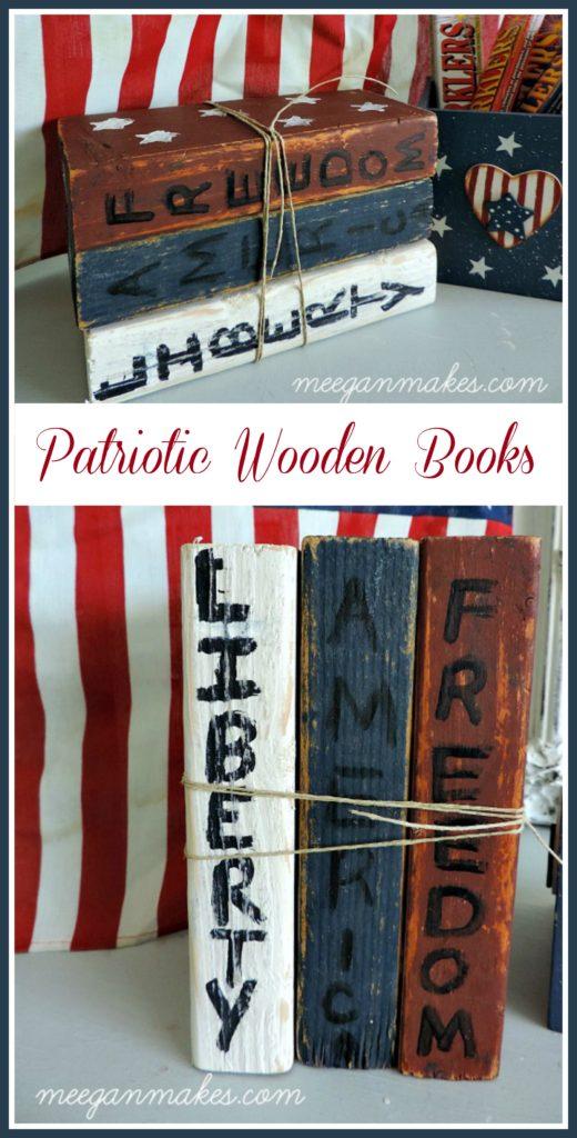DIY Patriotic Wooden Books