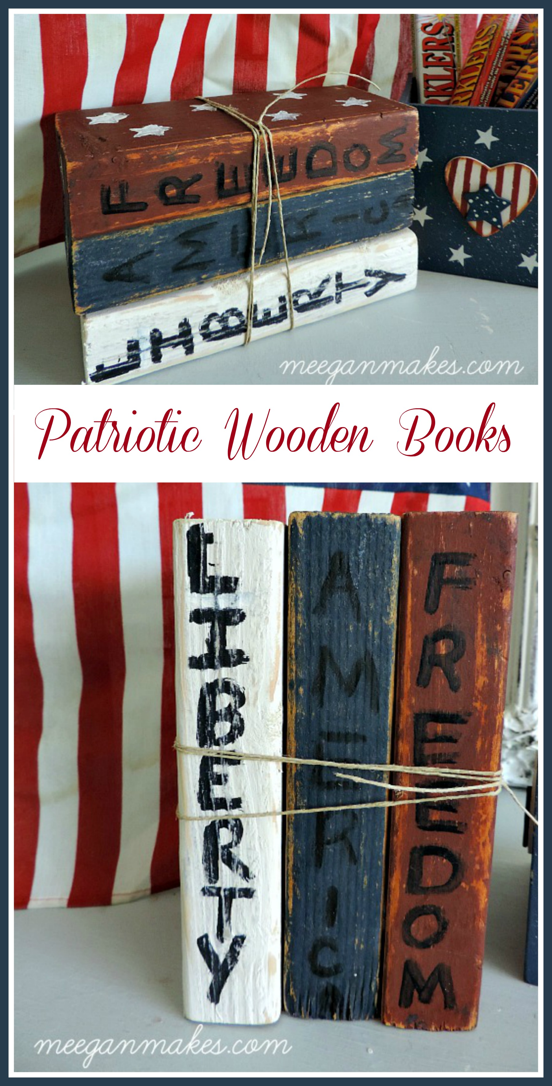 DIY Patriotic Wooden Books