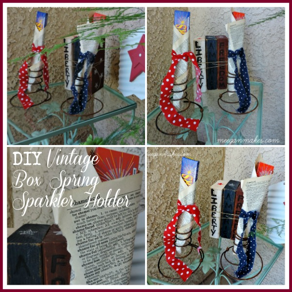 DIY Vintage Box Spring Sparkler Holder Collage