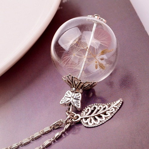 Dandelion Necklace with Butterfly