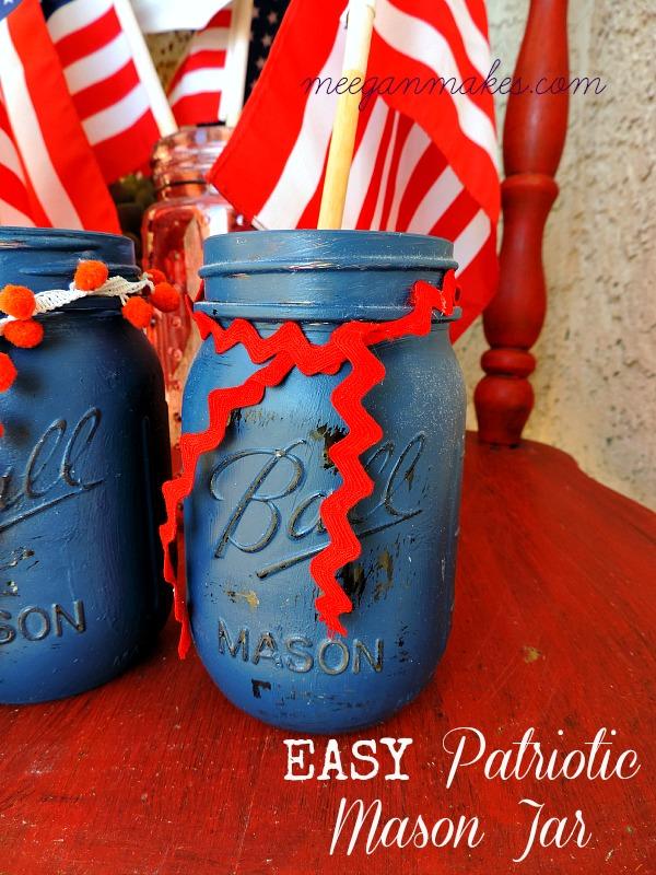 Easy Patriotic Mason Jar