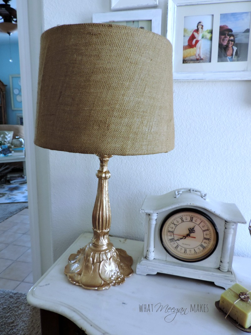 Lamp Makeover with Burlap Shade