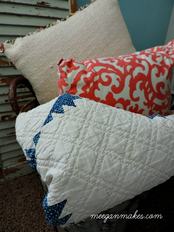 Olive Can with pillows and vintage Quilt