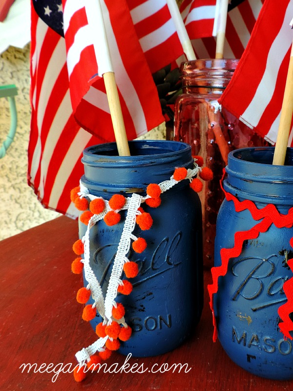 Patriotic Jars with Poms