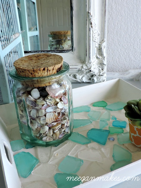 Sea Glass Tray with Shells