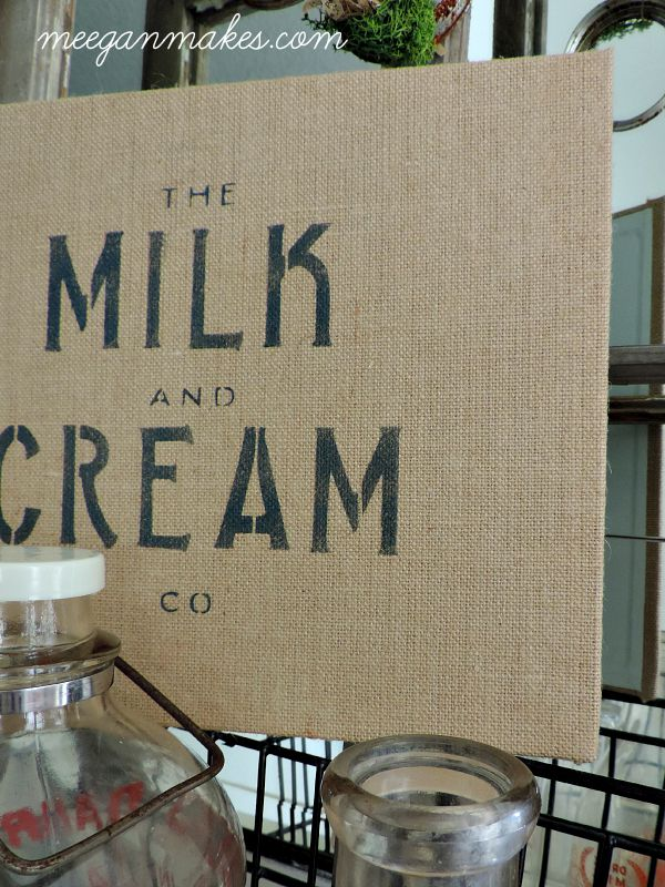 Stencil Milk and Cream Burlap Sign