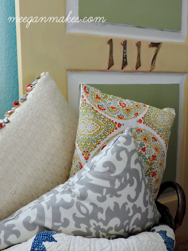 Thrifted Door and Pillows