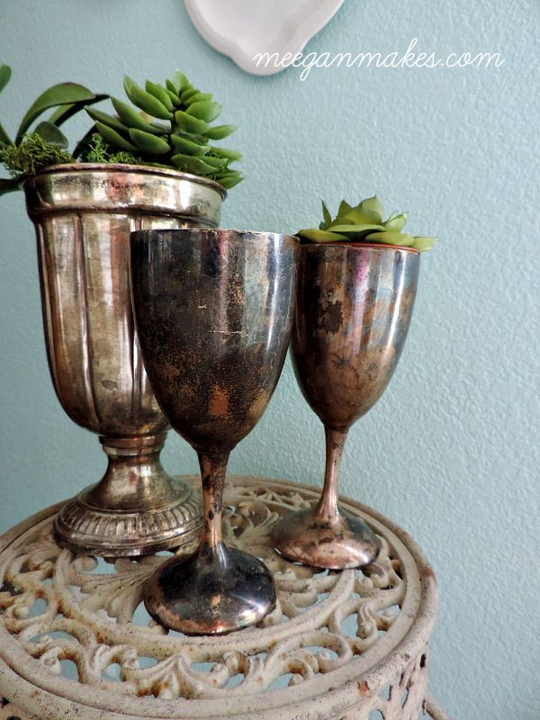 Thrifted Silver Cups Filled with Succulents by meeganmakes.com