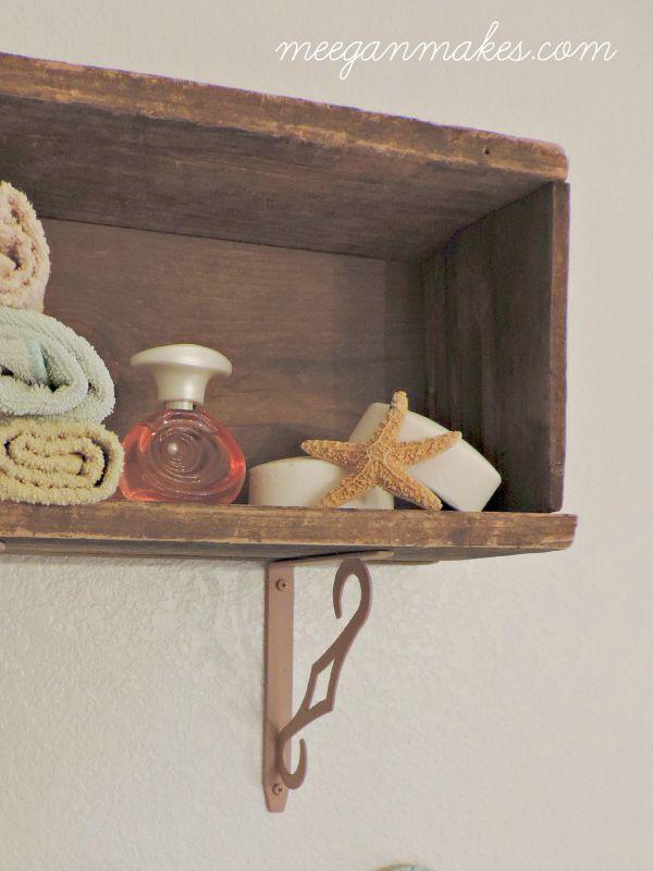 Box Wood Shelf in Guest Bathroom
