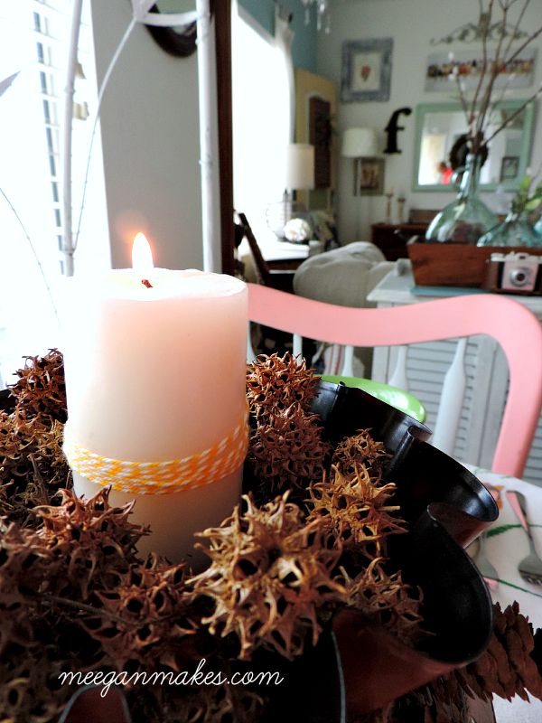 Fall Centerpiece Idea with a Fluted Pan and Pinecones