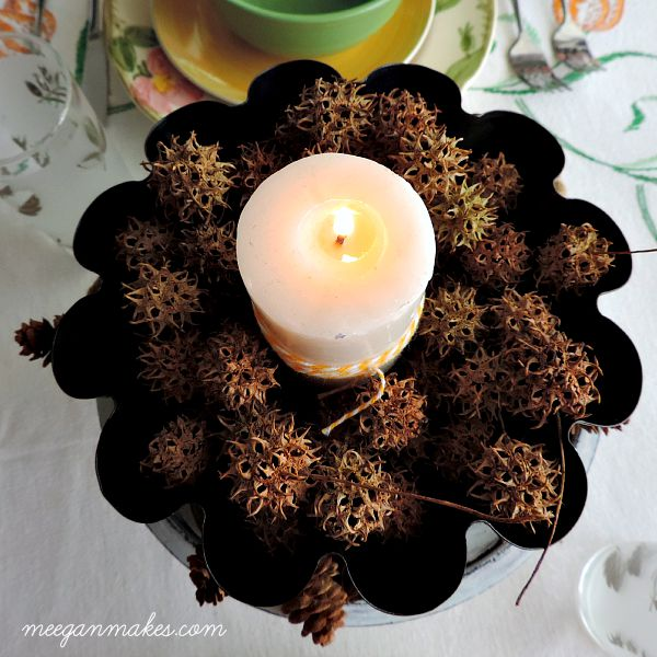 Fluted Pan with Pinecones as a Centerpiece