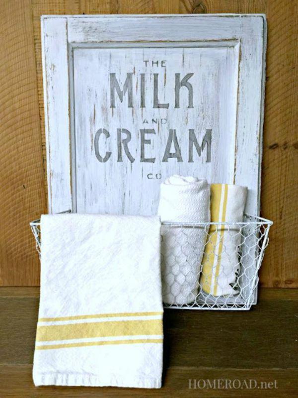 cabinet door milk and cream basket
