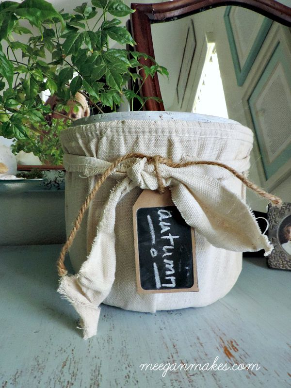 Anthropologie Drop Cloth Pot with Chalkboard Tag