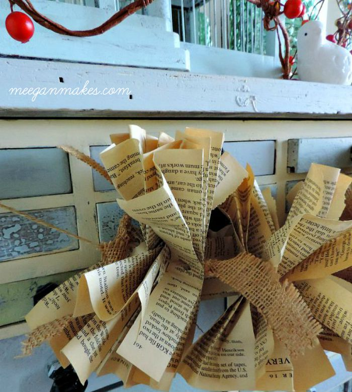 Burlap with Book Pages Garland
