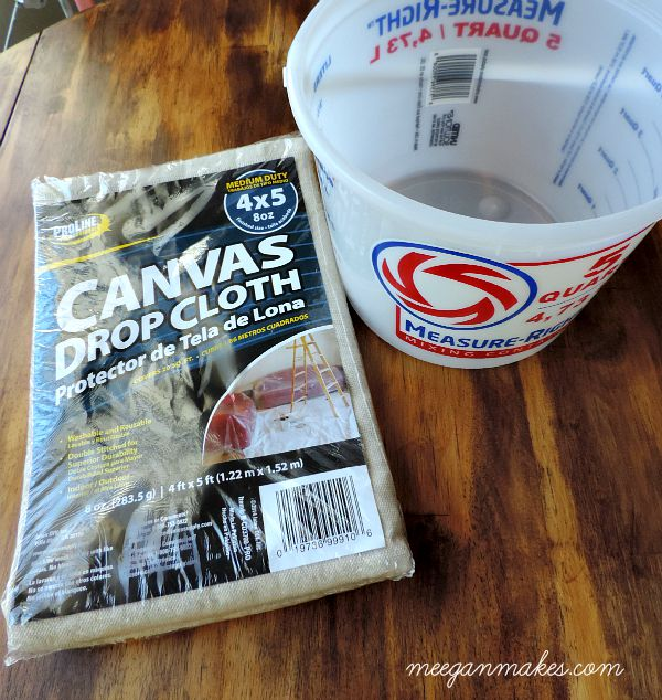 Drop Cloth and Bucket from Lowe's