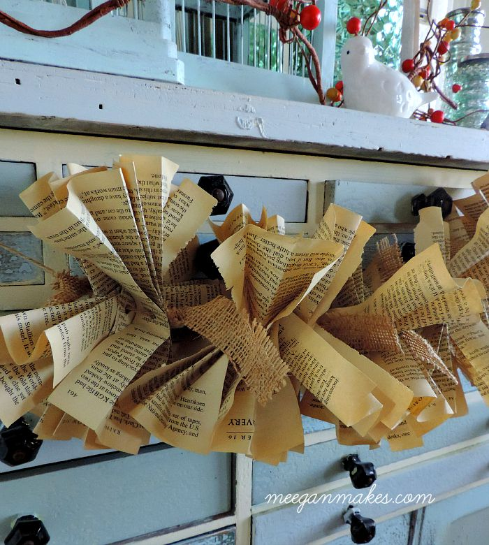 Fall Book Page and Burlap Garland