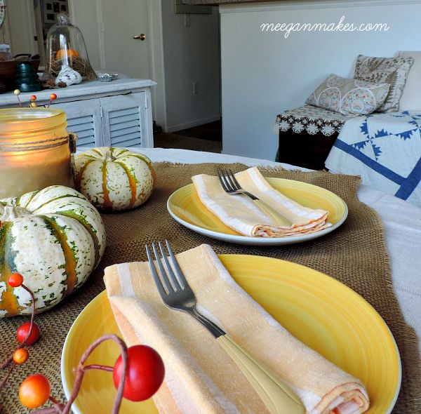 Fall Table with Paint Dipped Dessert Forks