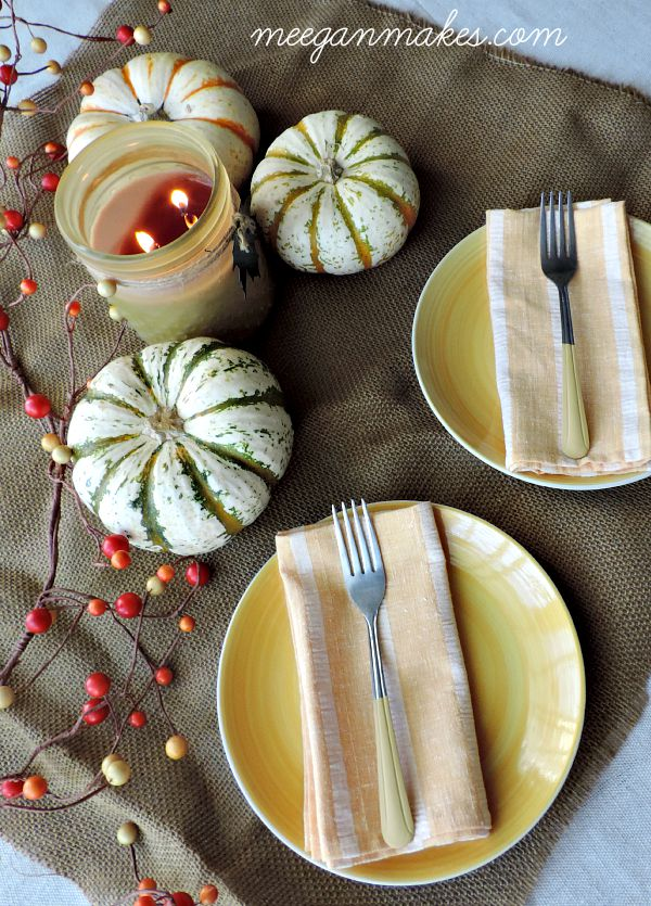 Fall Tablescape with Paint Dipped Forks
