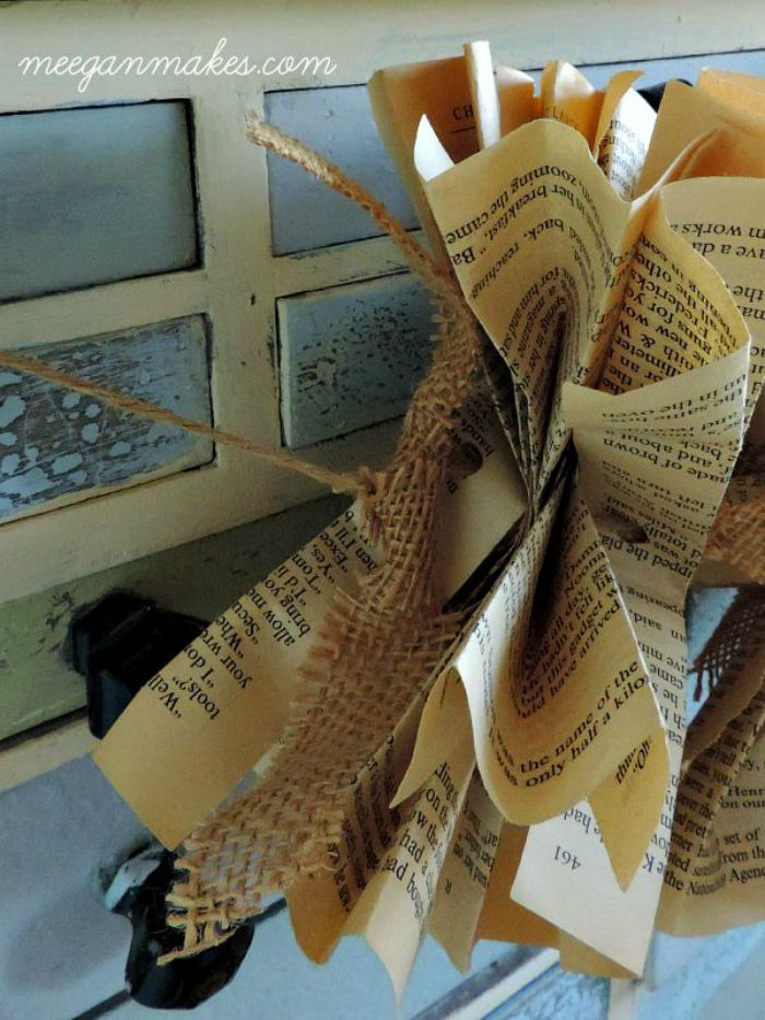How To Make a Book Page Garland with Burlap Ties