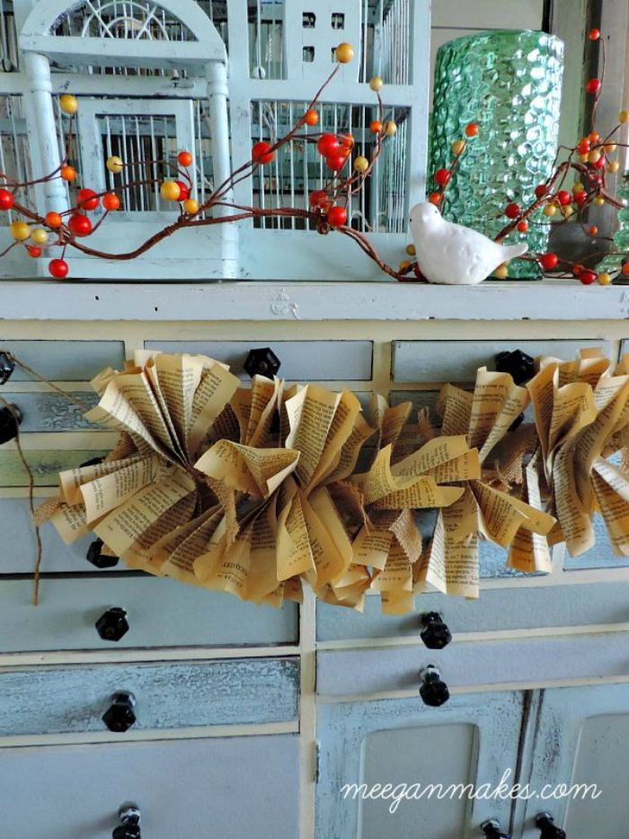 How To Make a Burlap and Book Page Garland