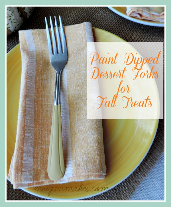 Paint Dipped Dessert Forks for Fall Treats