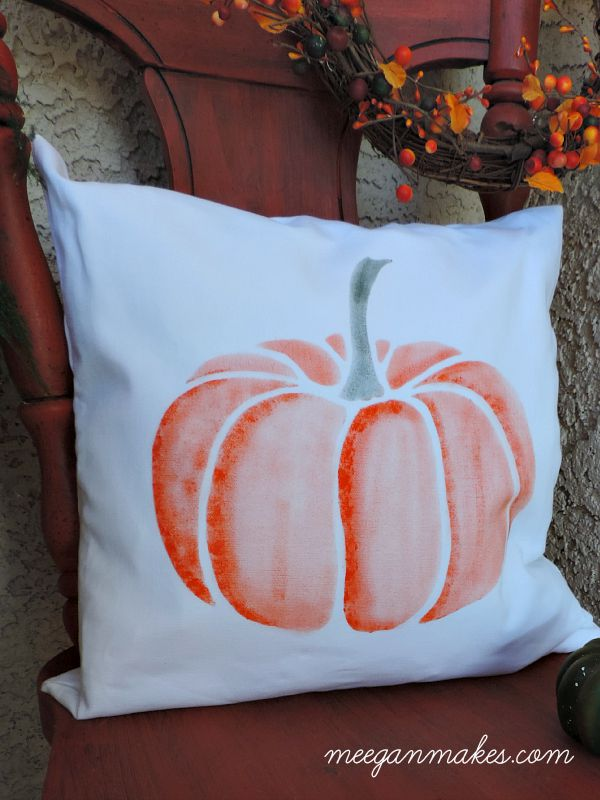 Pumpkin Pillow on My Fall Porch by meeganmakes.com