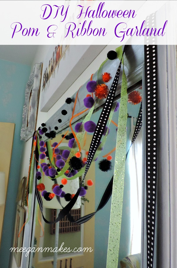DIY Halloween Pom and Ribbon Garland