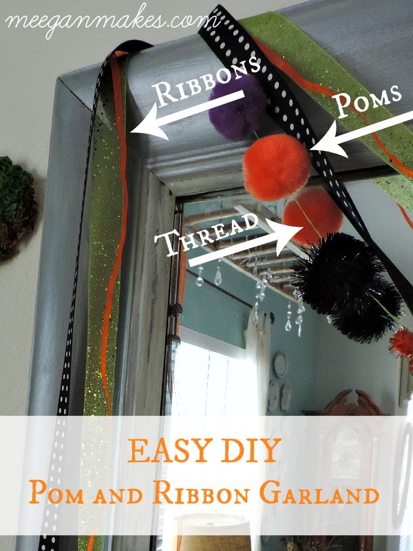 EASY DIY Pom and Ribbon Garland