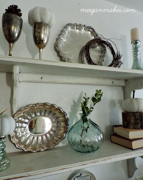 Fall Silver and White Shelves