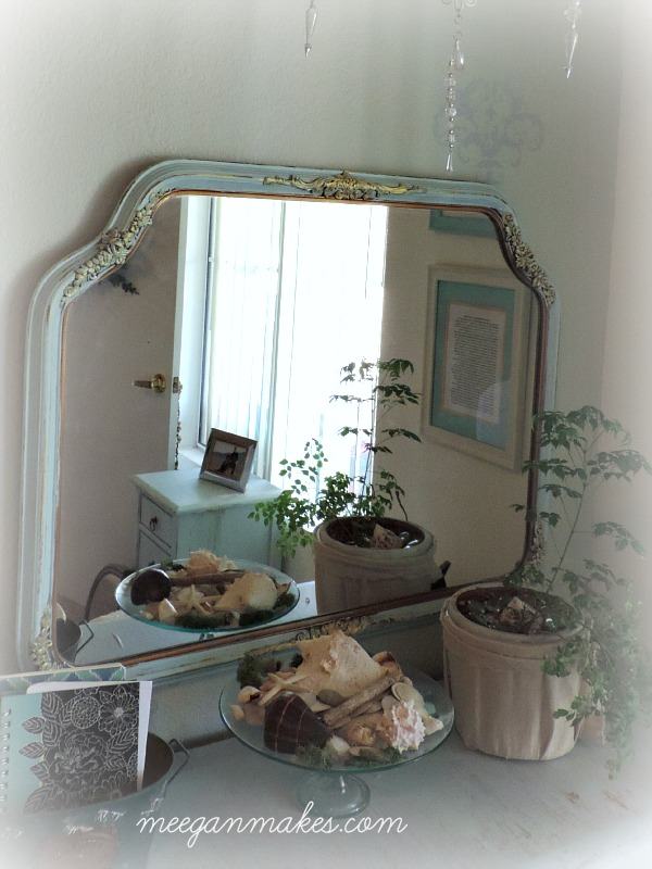 Mirror Painted with Turquoise Mist and Accented with Fusion Mineral Paint Gold Tint