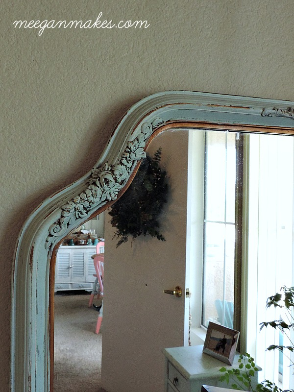 Mirror Painted with Turquoise Mist from Olympic Paint