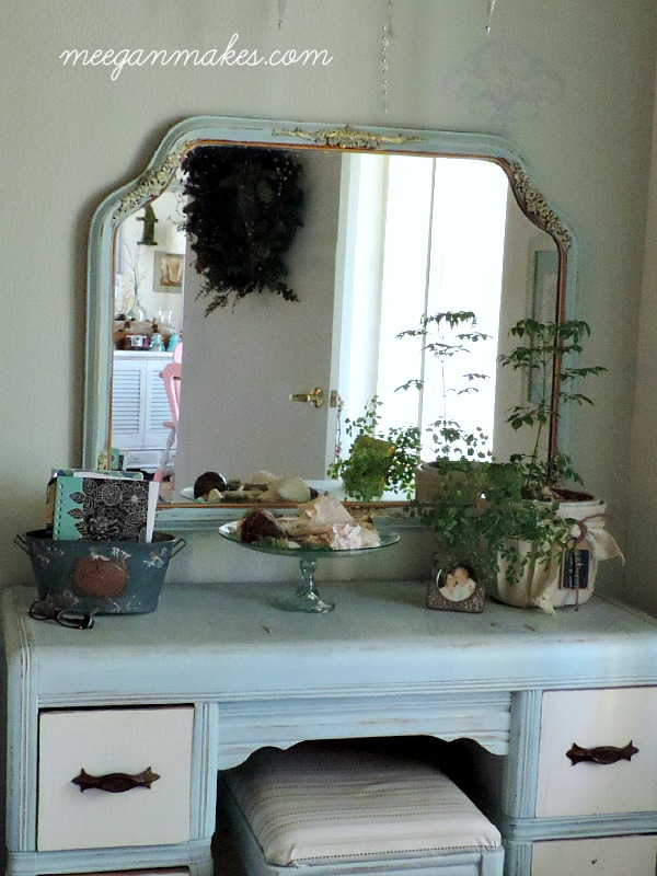 Vintage Mirror with Gold Accents