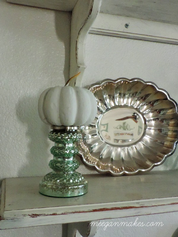White Silver and Aqua Fall Shelves